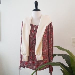 NWT ||LUCKY BRAND|| Floral, rust shirt.